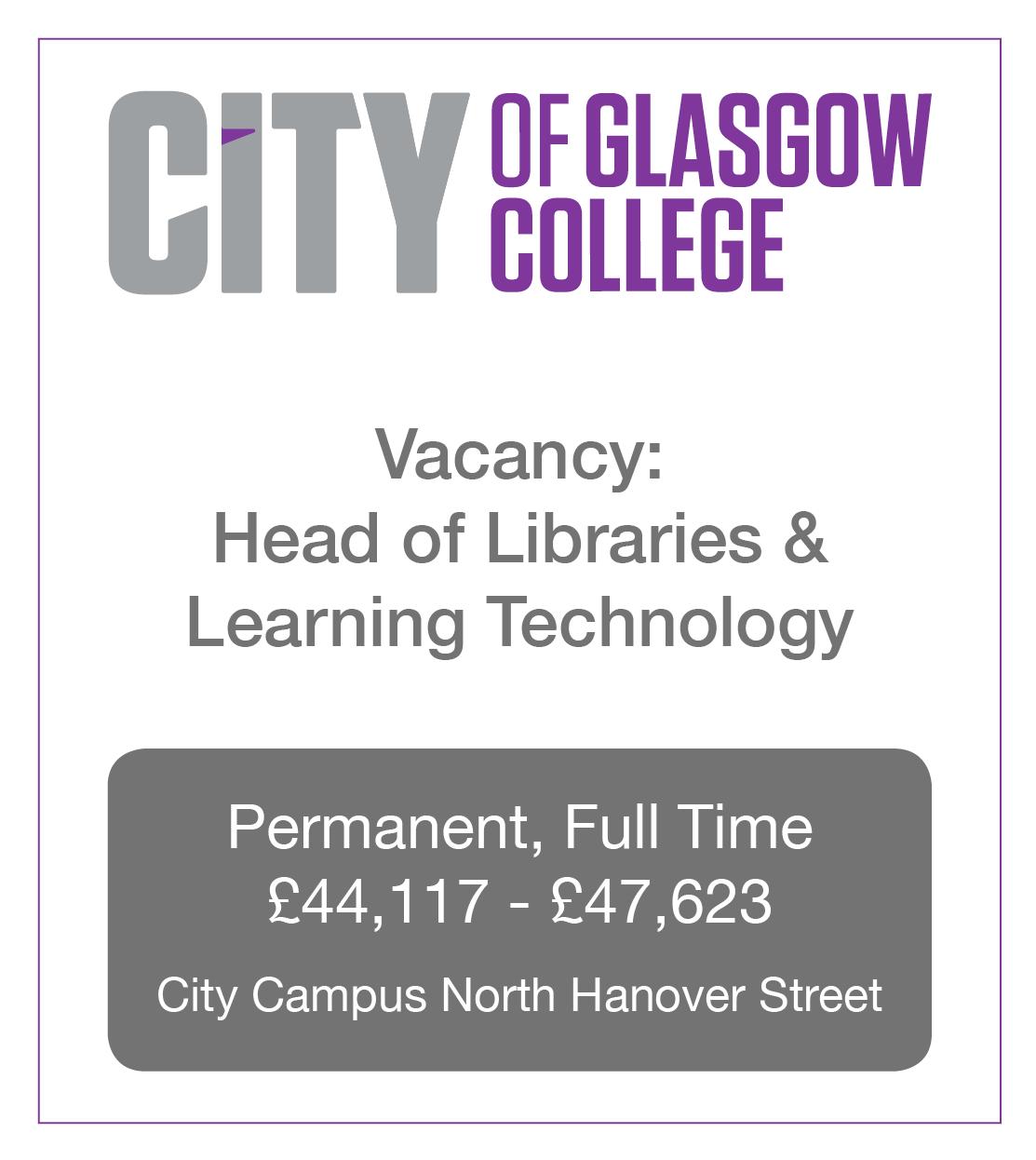 City of Glasgow College Vacancy